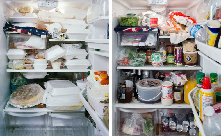 Bartender's fridge in 2008 (L) and 2012 (R)