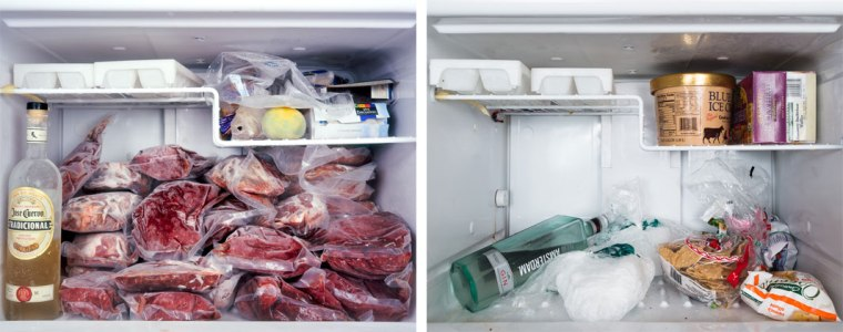 L: The fridge of a photographer/carpenter in 2008 R: The photographer, now homemaker's fridge in 2012